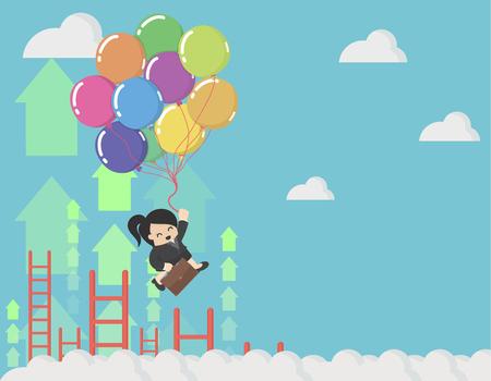 Mujer de negocios sosteniendo globos en el cielo