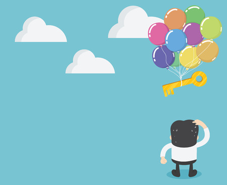 Businessmen standing looking at key with balloons floating away. Иллюстрация