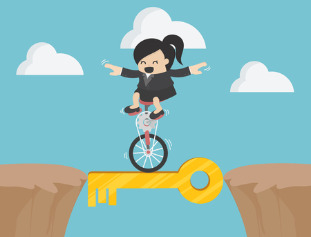 business woman drives a single wheel bike through a steep mountain with a magical key.