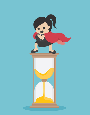 Concept vector illustration, Super Business woman stand on the hourglass, showing confidence to control time. Banque d'images - 109508665