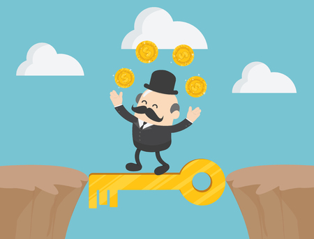 Concept vector illustration, The boss businessman walking between cliffs with magic keys.and money he sought with pleasure. Foto de archivo - 110289694