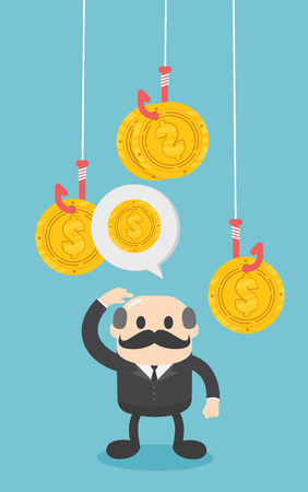 Concept vector illustration, businessmen are confused about the amount of money and profit from various funds.