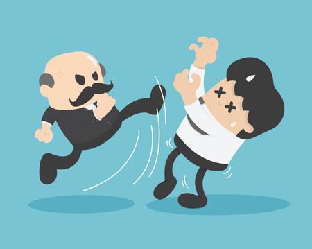 Concept vector illustration, chief business tyrannical Kick hired Vektorové ilustrace