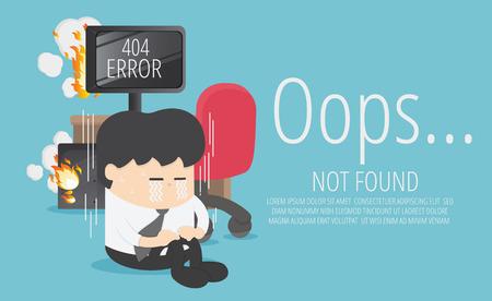 Uomo d'affari tristemente seduto sul computer sulla pagina non trovata Errore 404