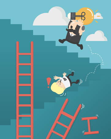 Businessmen who are up the ladder of success with bulbs. Success does not have a shortcut.