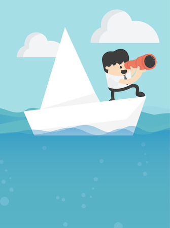 Concept vector illustration, Business leadership and goal concept Businessman stands in yacht looking through spyglass Banque d'images - 110289712