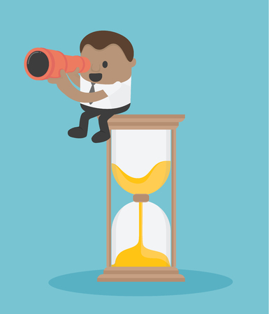 Concept vector illustration, Business sitting on a clock with a telescopic camera. into future in ocean. Flat design, business illustration. Banque d'images - 107739124