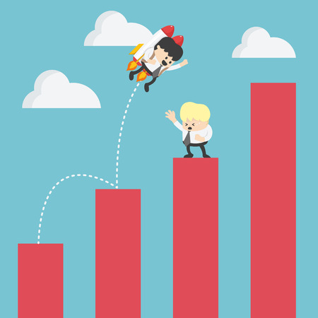 Businessman drifting across the stock graph with rocket Ilustrace