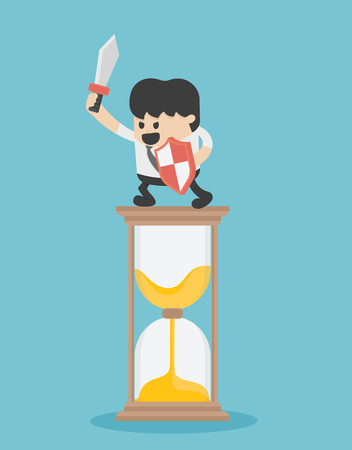 Business stand on the hourglass ready to fight for time