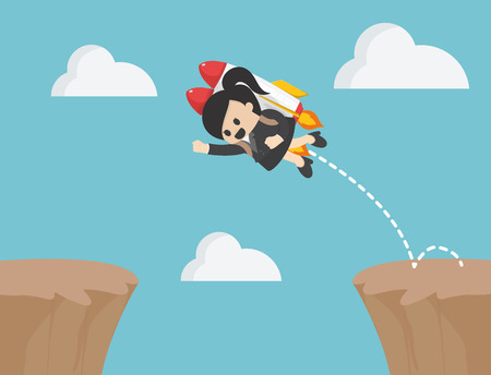Businesswoman jumps over rocky cliffs.