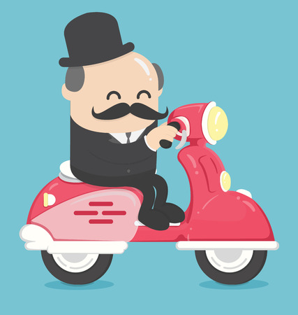 Happy businessman office worker character riding bike  move to work Banque d'images - 111266669