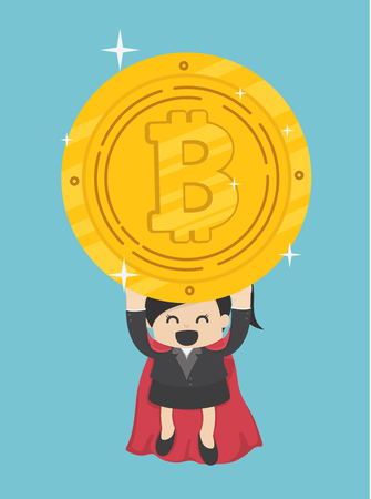 Concept Funny superhero Business Woman flying hold Bitcoin Banque d'images - 111266598