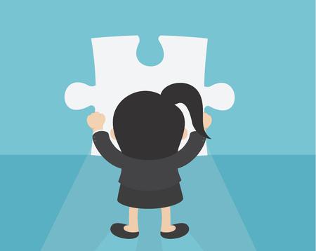 Business Woman making a puzzle Banque d'images - 111266600