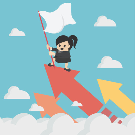 businesswoman holds the flag on the chart soaring. Banque d'images - 111266603