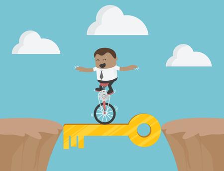 African Businessman Acrobatic Bike Show on Dangerous Success Banque d'images - 111266607