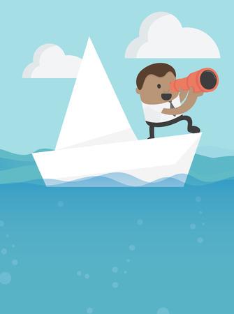 Business illustration concept businessmen in concept with boat Banque d'images - 111224109