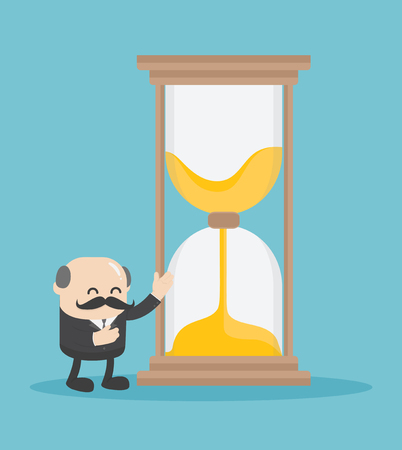 chief business man who is offering the hourglass represents the time for the followers. Иллюстрация