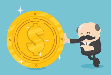 Business illustration concept Businessmen hold a huge dollar coin Illustration