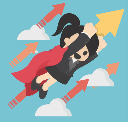 Business illustration concept Super woman launching on creative blue background Banque d'images - 111266575