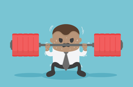 Business illustration concept African businessmen are lifting weights that represent a heavy burden Banque d'images - 111266576