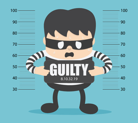 bandits were arrested and labeled as guilty. Banque d'images - 111266577