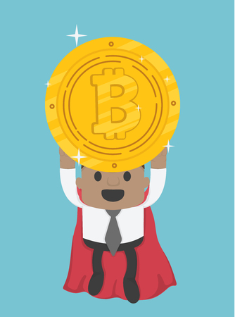 Flying super hero African businessman holding bitcoin Banque d'images - 111266580