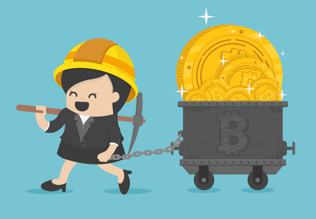 Business Woman miner figurines digging ground to uncover  bitcoin Banque d'images - 111266582