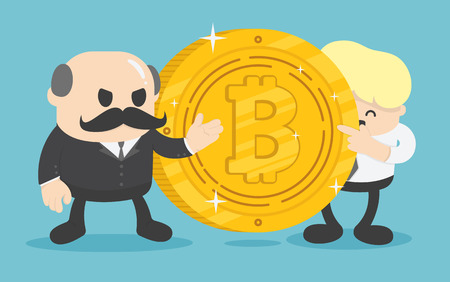 two businessmen who are offering bitcoin coins for exchange. Banque d'images - 111266515