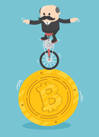 Ondernemers die gespecialiseerd zijn in het vinden van een goede bitcoin-handelaar. Vector Illustratie