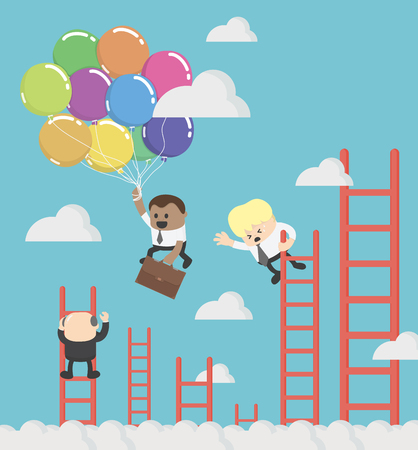 African Businessman  compete by climbing higher up the ladder. A leader is flying faster on balloon Banque d'images - 111266516