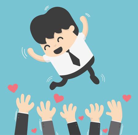 Concepto de dibujos animados vomitando empresario en el aire para el éxito