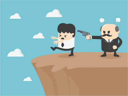 Concept cartoon businessman being forced .illustration