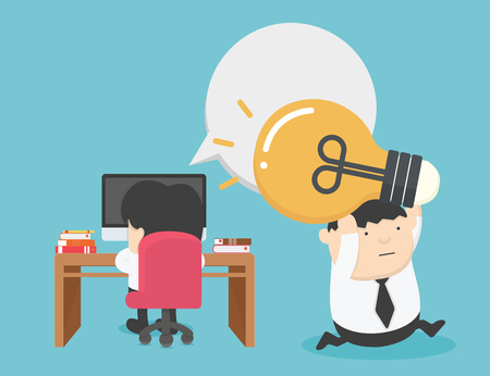 Content Work Infringement. business Theft of ideas. Light Bulb  Illustration