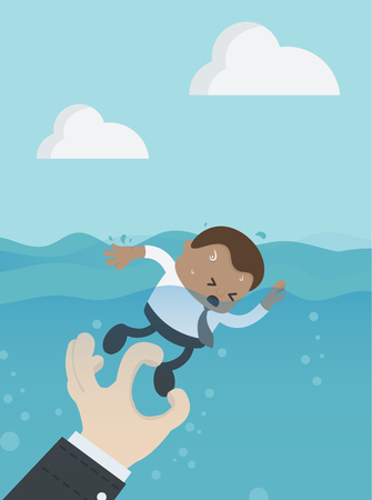 Drowning businessman. Abstract background,  melts, drowns. Vector concept illustration