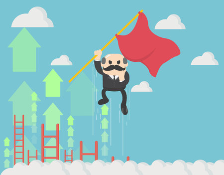 Concept of a businessman holding a red flag flying up the sky with arrows.The effort comes with success