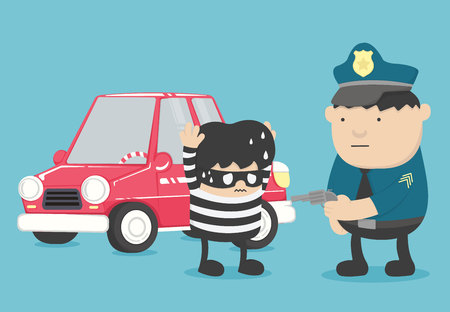 Arrest of police officers who are arrested car theft Illustration