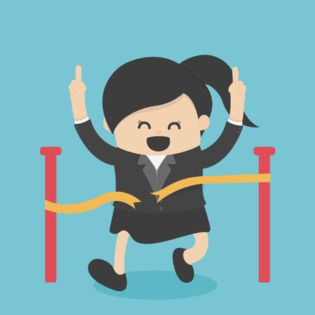 business woman reaching the finish line. Competition concept, Cute cartoon vector design.