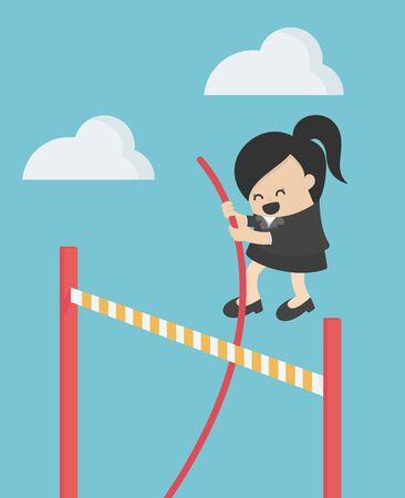 mujer de negocios, saltar, encima, obstáculos, evitación, concepto Ilustración de vector