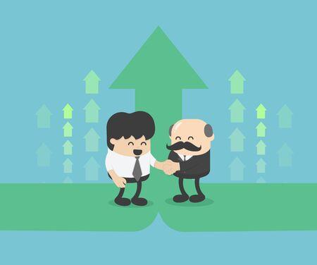 illustration Business partners, businessmans hand shaking Ilustração