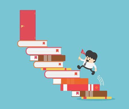 Successful business people, path of success begins with reading.Path of success begins with reading. Ilustrace