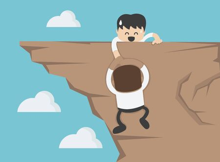 Concept cartoon illustration Business man on top of mountain helping colleague or friend climbing