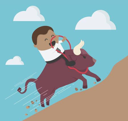 Concept cartoon illustration businessman riding bison head to the mountains Illustration