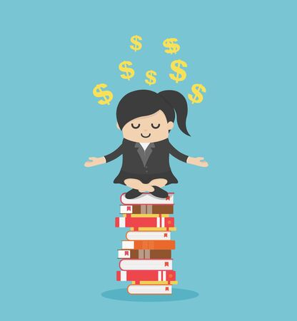 Concept cartoon illustration business woman meditate relaxed on a pile of books Ideas, learning, knowledge concept