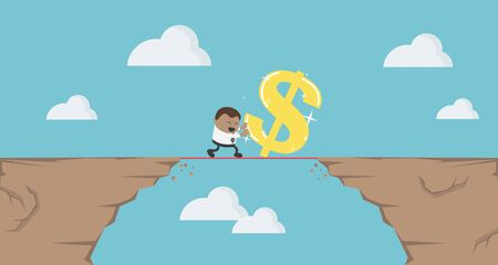 Cartoon illustration business concept of financial risks,  finance Crisis