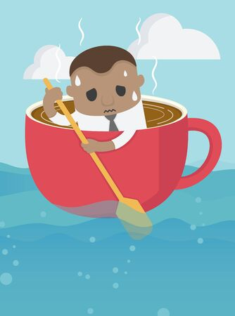 young african businessman young is rowing like coffee cup in the vast, tiring sea. Illustration