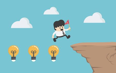 Concept cartoon illustration businessman crosses a high cliff with a lamp showing his intelligence and his hand holding a red flag Иллюстрация