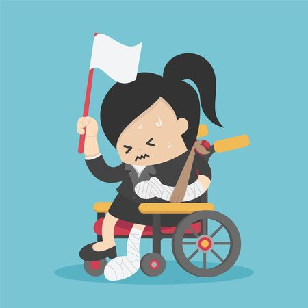 Concept cartoon illustration businesswoman sitting in a wheelchair with an injury, her hand raised a white flag
