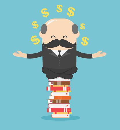 Concept cartoon illustration business man who is mindful by sitting on a pile of books, he succeeds in reading and can make money for him Vettoriali