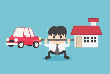 Concept cartoon illustration Young businessman who shows a weary expression of the burden of both the car and the house