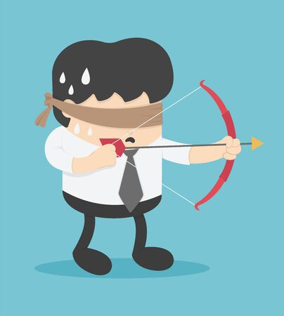 Businessman being blindfolded and the arrow misses the target because of being invisible